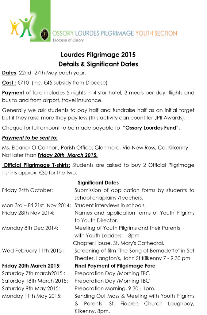 Ossory Lourdes Youth Pilgrimage 2015 Info